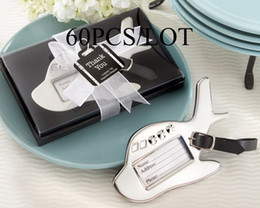 Wholesale 60pcs Wedding favors Airplane Luggage Tag in Gift Box with suitcase tag For wedding return gift