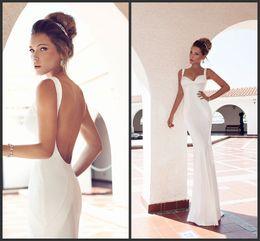 Wholesale Simple Design mermaid spaghetti straps sweep train white satin backless wedding dresses beach sexy design corset wedding gowns garden