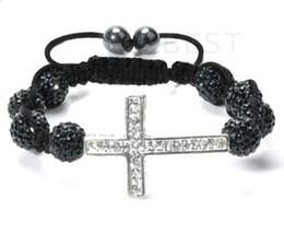cheap! New!10mm black micro pave cz Disco disco Ball Beads Cross Bangles OMN Women Crystal Bracelet jewelry wholesale HOT hotsale