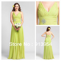 A-Line Model Pictures V-Neck Lime Green Sheath V-neck Floor-length Chiffon Bridesmaid Dress #00403349 bridemaid dresses 2014 free shipping dress