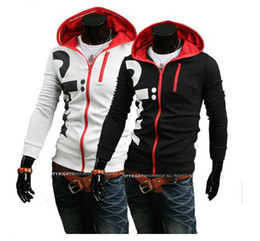 Wholesale New Men s Slim Fit Long Sleeves Hoodies Sweaters Men s word Printing design zipper Hoodies Sweatshirts W107