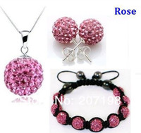 Wholesale crystal ball Shamballa earring necklace and bracelets jewelry set mix color accept for a
