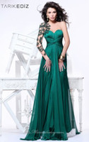 Reference Images Scoop Chiffon 2014 Tarik Ediz A Line Scoop One Shoulder Long Sleeve Chiffon Applique Green Long Wedding Prom Dress Formal Evening Dresses HP1160
