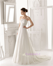 Wholesale 2014 Aire Wedding Dresses Simple Elegant Strapless Empire Chapel Train Tulle Beads