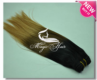 Straight Brazilian Hair machine Milkyway hair extensions-hot sale 1b #4 27# ombre color three tone color Brazilian human hair weft 3pcs lot free shipping