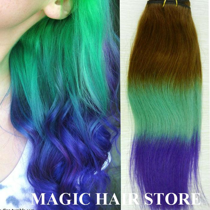 Purple and green ombre hair