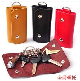 Newest PU leather key wallets bags men women portable key chain Stainless Steel Keys bag car key holder key ring colorful 10pcs