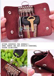 PU leather key wallets bags men women portable key chain Stainless Steel Keys bag car key holder key ring handbag 6colors