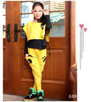 Girl Spring / Autumn Long Wholesale - free shipping Spring 2014 new Korean version of the big butterfly girls' suits children's clothing children suit 3 piece set