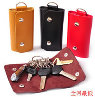 Wholesale PU leather key wallets bags men women portable key chain Stainless Steel Keys bag car key holder key ring handbag gifts purse