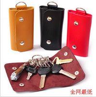 Wholesale PU leather key wallets bags men women portable key chain Stainless Steel Keys bag car key holder key ring handbag key case gifts purse