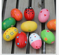 Wholesale High quality Colorful Pattern Wooden Maracas Eggs Wood Instrument Baby Toddler Toy Educational Toys
