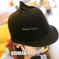 Wholesale 2013 autumn and winter fashion personality cute female woolen short brimmed hat equestrian knight pointy hats