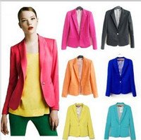 apricot candy - Womens Suit Coat Candy Color Seventh Volume Sleeve coat Slim cheap Outwear