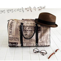 Wholesale 2014 New Design Newspaper Prints Hot Trendy bag travel one shoulder Canvas handbag totes big for women