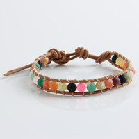 Wholesale 2014 New Arrive mm multicolor frosted agate bead X wrap bracelet new design handmade wrap leather bracelet