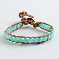 Wholesale 2014 New Arrive mm Amazoniote jade bead X wrap bracelet new design charming handmade wrap leather bracelet