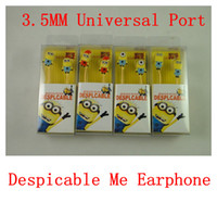 Wholesale New Cute Despicable Me mm Earphone Cartoon HeadSet Earphone For Universal Cellphone MP3 MP4 Tablet pc