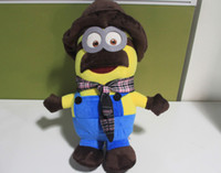 Wholesale 10pcs quot cm Despicable me Minions plush doll with beard wears hat and scarf