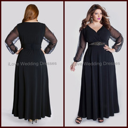 Wholesale 2014 Plus Size Dresses Column Sheer Long Sleeve Ankle Length Formal Evening Dress Chiffon Navy Blue Ruffle V Neck Women Gowns Sash Bead YA1