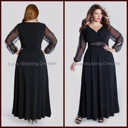Wholesale 2014 Plus Size Dresses Column Sheer Long Sleeve Ankle Length Formal Evening Dress Chiffon Navy Blue Ruffle V Neck Women Gowns Sash Bead YA1