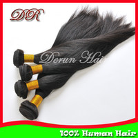 Wholesale Derun Hair Products Peruvian Virgin Human Hair Weft Extension Mix Silky Straight Hair Weaving Natural Black Fast
