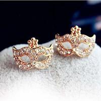 Women's mask earrings - Bohemian Diamond Stud Earrrings For Women Full Rhinestonse Flower Mask Earring Gold Stud Earrings PARS