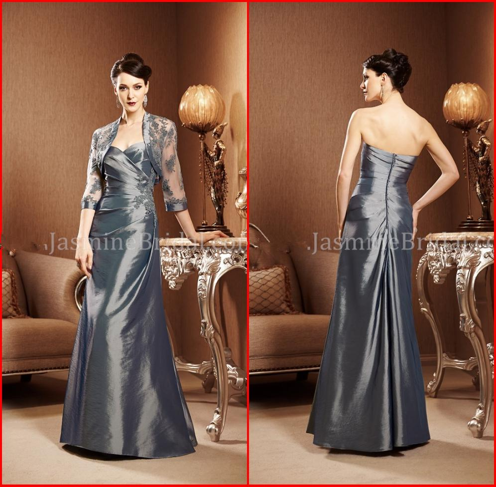 Buy 2015 Slive Grey Mother Bride Dresses jacket Sheer Sleeve Floor Length Pick-ups Appliques Taffeta Dress Formal Gowns