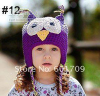 Wholesale New OWL Crochet Hat Cotton Knitted Baby Hats Fashion Kids Cap Many Style