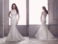 Wholesale Paloma Blance French Alençon Lace and Silk Dupioni Wedding Dresses Scoop Neck Bridal Wedding Gowns Brush Train Mermaid Sleeveless