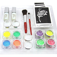 Wholesale USA Dispatch UV Glitter tattoo kit UV powder glue tube brush stencil PH K005