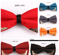 Wholesale High grade bowtie classic color black and white metal head han edition men s boutique bow ties