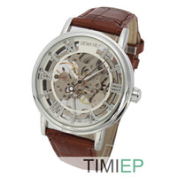 Wholesale 2014 new SEWOR white Men watches Silver Skeleton Transparent Mechanical Stainless Men s Leather Strap wrist Watches for men