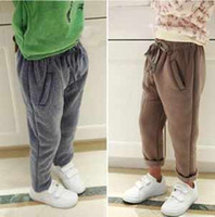 Wholesale Baby girl stylish loose pants children s boys casual trousers fashion kids girl boys fleeces pants hot sale Grey Khaki T90300