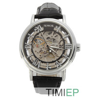 Wholesale 2014 SEWOR New black wrist watches for men Steampunk Automatic Mechanical Men watches retro style