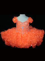 Wholesale Graceful Orange amp Pink Beads Tiered Cap Sleeves Zipper Knee Length Ball Gown Organza Little Flower Girl Pageant Dresses