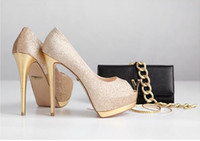Wholesale Lady Gorgeous Nightclub Evening Shoes Super High Heels Sandals Woman Dress Shoes Gold Wedding Bridal Dress Shoes