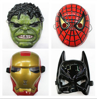 Film mask  halloween spider - Environmental Protection Material The Avengers Alliance Spider Man Iron Man Halloween Carnival Mask Hulk Batman captain America L472