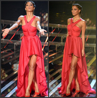 Wholesale Nicole Scherzinger Red Halter Chiffon Hi Lo On The X Factor Celebrity Dresses Red Carpet Gowns BO3713