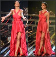 X Factor nicole scherzinger - Nicole Scherzinger Red Halter Chiffon Hi Lo On The X Factor Celebrity Dresses Red Carpet Gowns BO3713