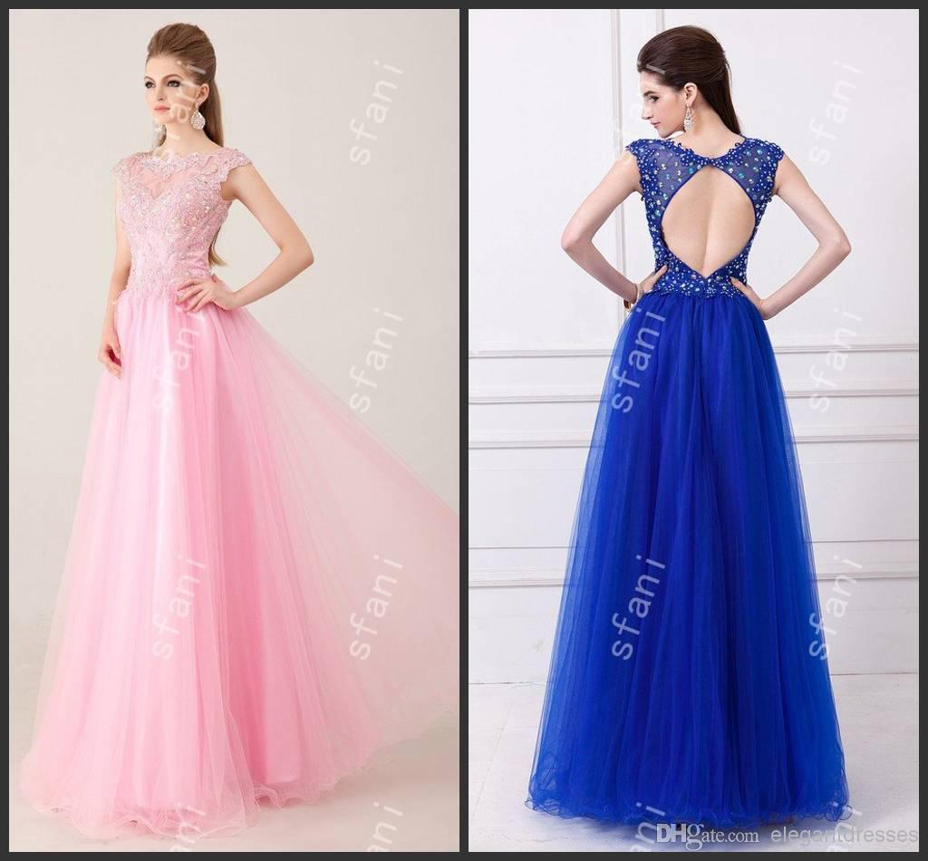 Designer 2015 Beautiful Ball Gown Illusion Neckline Beaded Royal ...