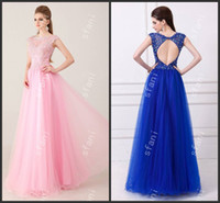 Wholesale Designer Beautiful Ball Gown Illusion Neckline Beaded Royal Blue Pink Formal Dresses Party Prom Dresses Angela72