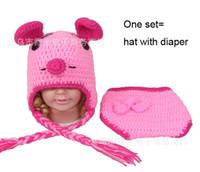 Unisex Summer Crochet Hats Popular 2014 Newborn Baby Crochet Knit Aminal Beanie Cap Photography Props Toddler Costume Set Handmade children Hat+diaper one set erbaby