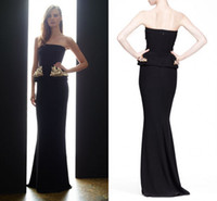 Reference Images Strapless Elastic Satin 2015 Sheath Peplum Sequined Appliques Long Formal Evening Celebrity Dresses Black Sexy Prom Party Bridesmaid Gowns Custom Free Shipping