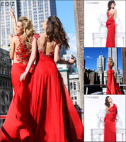 Wholesale 2014 Luxury Tarik Ediz Prom Dresses Red One shoulder Sheath Sheer Applique beaded backless Sexy Bows Fashion Cheap Price New Evening Gowns