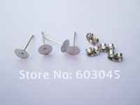 Wholesale pairs Nickel Free Surgical Steel Stud Earnuts and mm Flat Pads White K Earring Posts with Back Stoppers