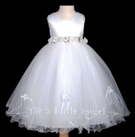 Cheap Kids Ball Gown Jewel Sleeveless Ankle Length White Organza First Communion Special Occasion Little Girls Princess For Formal Wedding Gowns