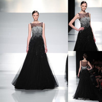 Wholesale 2014 Graceful Black Bateau Neckline Sheer Beading Evening gowns Sleeveless Tulle Net A Line Illusion Prom Dresses