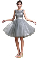 Reference Images Bateau/Jewel Tulle 2014 New Sexy Sequin Grey Bateau A-Line Short Cocktail Dresses With Silk Sash Mini Homecoming Dress Short Prom Dress Gowns No Sleeve Cheap