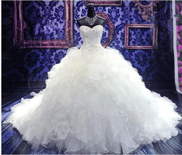 Wholesale Real Photos New Sweetheart Strapless Organza White Beaded Bodice Empire Wedding Dress Bridal gown Chapel Train ZA102
